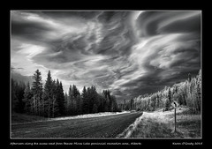 Afternoon along the access road from Beaver Mines Lake provincial recreation area, Alberta (kgogrady) Tags: road autumn trees blackandwhite bw canada fall clouds landscape blackwhite nikon afternoon country noone ab nopeople alberta infrared roadsign nikkor dx gravelroad westerncanada 2015 lenticularclouds southernalberta d80 canadianlandscapes cans2s nikkor1870mmf3545gifed albertalandscapes picturesofalberta photosofalberta
