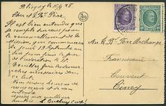 Archiv G011 Karte (back), Blicquy, Belgien, 16. Mrz 1928 (Hans-Michael Tappen) Tags: 1920s stamps postcard ephemera 1928 belgien postkarte briefmarke poststempel 1920er blicquy archivhansmichaeltappen knigalbertibriefmarke
