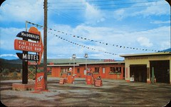 Macdonald's Pine Service, Cranbrook, BC (SwellMap) Tags: architecture vintage advertising design pc 60s fifties postcard suburbia style kitsch retro nostalgia chrome americana 50s roadside googie populuxe sixties babyboomer consumer coldwar midcentury spaceage atomicage