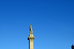 Guarding, Watching (MTSOfan) Tags: sculpture art bluesky sword lancaster shield queenstreet vigilance