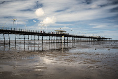 Southport Pier (Steve Millward) Tags: nikon d750 50mm primelens fx fullframe fixedfocallength sharp raw imagequality perspective england outdoor beach seaside pier holiday vacation sky cloud blue landscape scenic southport southportpier merseyside sea irishsea water reflections