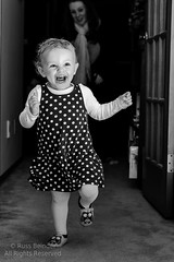 Luv Ta Run (Russ Beinder) Tags: party bw girl happy blackwhite kid toddler child running polkadots 85mmf14