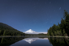 Moonlit Star Trail (erika eve) Tags: sky lake mountains water night afterdark trilliumlake mthoodnationalforest
