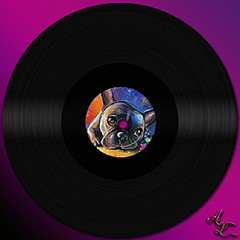 Inspiracin nocturna... #vinyl #bulldog #frenchie #color #art (anasanra) Tags: square vinyl bulldog squareformat frenchie normal iphoneography instagramapp uploaded:by=instagram foursquare:venue=50290086e4b0a90de358efe4