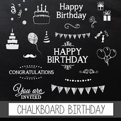 "Chalkboard clipart birthday: Digital clip art ""CHALKBOARD BIRTHDAY"" pack with chalkboard happy birthday, congratulations invite elements (workyourart) Tags: birthday party art happy images clip clipart chalkboard congratulations invite"