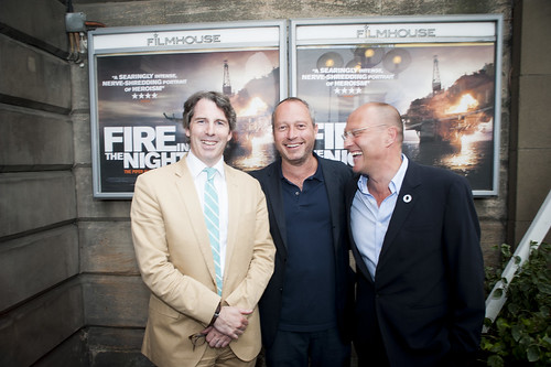 Fire in the Night Director Anthony Wonke and writer Stephen McGinty outside the Filmhouse
