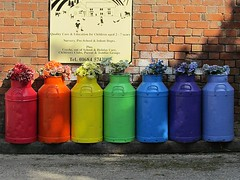 A rainbow of milk churns (Katie-Rose) Tags: uk rainbow malvern worcestershire daynursery katierose milkchurns madresfield 113picturesin2013 47rainbow