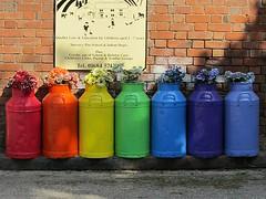 A rainbow of milk churns (Katie-Rose) Tags: uk rainbow malvern worcestershire daynursery katierose milkchurns madresfield 113picturesin2013 47rainbow
