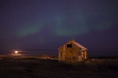 The Moon and Abandoned House (baddoguy) Tags: light sky moon night star iceland natural peaceful tranquility landmark crescent explore copyspace iconic starry northernlights auroraborealis phenomenon hafnarfjordur flickrexplore