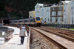 221 123 1S55 1424 Plymouth - Edinburgh curves out of Kennaway Tunnel as canters past Dawlish (1513) Sunday 18th August 2013 (Colin.P.Brooks Railway Photography & Frinton (6M+ ) Tags: seawall voyager bombardier arriva dawlish arrivatrains dmu class221 arrivacrosscountry dawlishseawall 221123 1s55 dmudieselmultipleunit sunday18thaugust2013