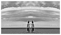 **The Battle (Despina Titoni) Tags: sea portrait bw white beach girl shirt female clouds scarf sand photographer young battle greece kings crown envy jealousy katerini olympicbeach nikond3100 flickr12days