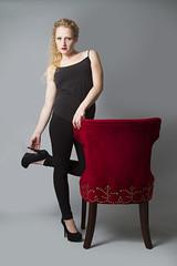 Lyzz (austinspace) Tags: red portrait woman studio washington model chair spokane blond blonde alienbees