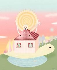 rising sun (Alba Blzquez) Tags: sun house mountains art home colors animals illustration digital print landscape design graphic artistic lol illustrator lovely dope arquitecture