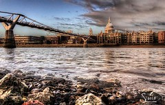 From the river bank (simonm1701) Tags: bridge london water st thames river rocks bank millennium hdr pails vision:sunset=0532 vision:sky=0763 vision:outdoor=0919 vision:clouds=053