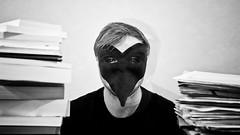 Le Corbeau. (Mllain) Tags: portrait white selfportrait black 50mm noir crow et blanc corbeau d90