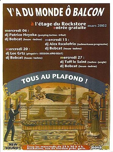 "Dj Patrice Heyoka - Flyer 06/03/2002 - ""Y'a Du Monde ô Balcon"" @ Rockstore (Montpellier) <a style=""margin-left:10px; font-size:0.8em;"" href=""http://www.flickr.com/photos/110110699@N03/12211134905/"" target=""_blank"">@flickr</a>"
