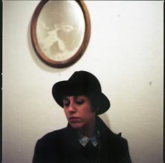 (Valentina Calosci) Tags: woman 6x6 film hat analog mirror hasselblad500cm portra160 valentinacalosci irenesilvestri
