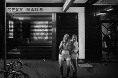 Bourke Street, Surry Hills. 8:38 PM (andrewcbraithwaite) Tags: street blackandwhite bw sydney documentary mardisgras 2014