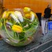 Yellow tulips in a bowl