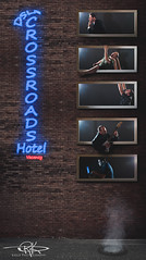 Hotel Crossroads (Keele_Photography) Tags: blue light musician usa building brick nerd window sign wall computer studio one hotel glasses 1 utah nikon neon sitting guitar thinker screen saratogasprings steam full number suit cover alleyway frame barefoot hanging 28 manhole dslr fx screaming asphalt crossroads vacancy choking eaglemountain 2470mm d600 utahcounty