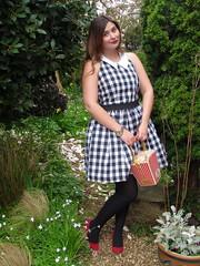 Rare London Black White Gingham Summer Dress (laurenella1990) Tags: red summer white black london court bag asda george shoes ebay dress kate inspired gingham popcorn rare spade