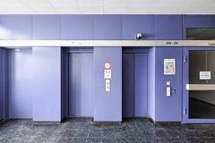 Elevators, 3rd floor (jrej www.gregoirec.com) Tags: building berlin architecture canon germany office violet plattenbau dri tempelhof gesundheitsamt 5dmarkii tse17mmf4l