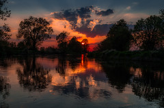 Wild river 2 (piotrekfil) Tags: trees sunset sun reflection water river piotr day cloudy fil poland piotrfil