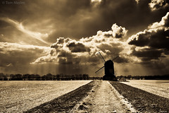 Moody Mill (Explored 1st May 2014) (TRM1967) Tags: mill windmill field silhouette clouds canon mono grain 7d pitstone