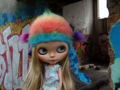 Pola in new rainbow hat