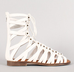 "lace up peep toe gladiator flat sandal white • <a style=""font-size:0.8em;"" href=""http://www.flickr.com/photos/64360322@N06/16165364879/"" target=""_blank"">View on Flickr</a>"