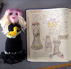 Spring dreaming (trishahillery) Tags: sketch spring doll ooak diary journal doodle draw artdoll recycle repurpose upcycle