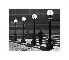 Lamp light (tkimages2011) Tags: man monochrome liverpool mono streetlamps backlit limestreet stgeorgeshall