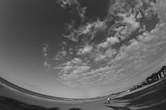 Big Sky (Rebecca Ceccaroni) Tags: sea sky italy beach monochrome clouds blackwhite seaside side openair