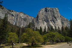 El Capitan and Falls (Garden State Hiker) Tags: california mountains nature landscape outdoors waterfall nationalpark day sunny clear waterfalls yosemite yosemitenationalpark elcapitan monolith