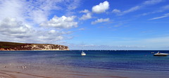 Swanage Bay (karenmarquick) Tags: sea sky clouds spring may dorset swanage