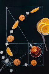 Golden ratio of teatime (Dina Belenko) Tags: food art cooking composition spiral fun design chalk lemon cookie graphic tea drink drawing geometry tasty science sugar delicious math learning precision homework splash proportion scheme blackboard highspeed khabarovsk nutrition goldensection goldenratio appetizing kithen nutritionist dietetics cartesiancoordinates fruitknife
