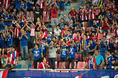 BANGKOK-THAILAND-5JUNE,2016:Unidentified fans of Thailand supporters during match between match Kings cup between Thailand and Jordan at rajamangkala Stadium in Thailand on 5 june 2016 (leykladay) Tags: world portrait people man motion sport club ball thailand person moving football goal movement fighter play action kick stadium fifa soccer group competition player line thai editorial match fans league cheering champions supporters active kingcup tpl
