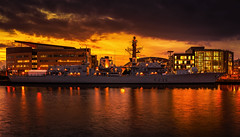 HMS Monmouth Docked at Cardiff bay (technodean2000) Tags: city uk bridge blue colour reflection building water skyline wales architecture night bay pier nikon ship waterfront outdoor dusk south cardiff hour monmouth docked lightroom hms d610