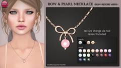 Bow & Pearl Necklace (Izzie Button (Izzie's)) Tags: necklace sl bow pearl izzies