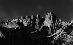 First Light for Mount Whitney (rajaramki) Tags: blackwhite whitney mountwhitney easternsierras alabamahills
