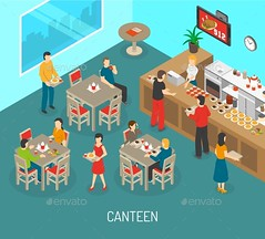 Workplace Canteen Lunch Isometric Poster (Industries) (hypesol) Tags: food building chicken kitchen coffee cookies bar dinner menu dessert lunch soup office cafe break order counter dish time company indoors meal pastry workplace sweets tray canteen snacks visitors employee
