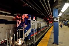 NYCTA (grumpyff) Tags: nycta subway mta nyc newyork columbuscircle transit commute travel transportation train work maintenance diesel mpi r156 locomotive motivepowerindustries railroad station platform 59 street