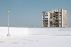 do nothing (   ) Tags: road street blue windows light white abstract color building art architecture composition contrast concrete photography alone outdoor models streetphotography minimal bulgaria fujifilm minimalism minimalistic washout 32mm xt1 touit