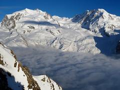 Monte Rosa, Lyskamm and Grenzgletscher (lvalgaerts) Tags: snow clouds switzerland spring rosa glacier blanket gornergrat zermatt matterhorn monte gletscher dufour cervino gorner grenzgletscher lyskamm