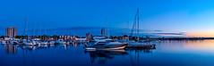 Hamilton Harbour (AncasterZ) Tags: sunset panorama canada boat dock nightshot bluehour hamiltonharbour