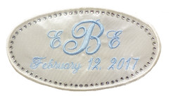 Sparkle Erica Wedding Gown Label (initial_impressions) Tags: embroidered personalized weddinggownlabel weddingdresslabel weddinggownpatch rhinestoneedge