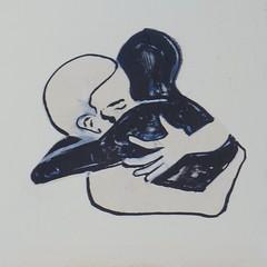 Accolade (Juin 2016) (Ostrevents) Tags: street streetart man black paris france art wall stencil couple europa europe paint noir noiretblanc peinture hugs capitale rue mur blanc homme pochoir accolade bombage chn artdelarue blackandwihte artdanslarue ostrevents