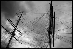Ropes of stockholm (Arnaud Huc) Tags: europe sweden stockholm ship bateau ropes cordages mats sky ciel contraste blackandwhite noiretblanc black white noir blanc bw nb arnaudhuc d5100 1685 nikon