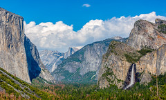 Afternoon Tunnel View (ScorpioOnSUP) Tags: california trees sky snow mountains clouds landscape nationalpark rocks bluesky waterfalls halfdome yosemitenationalpark wilderness elcapitan cathedralrock rockformations yosemitevalley cloudsrest sentineldome tunnelview bridalveilfall landscapephotography