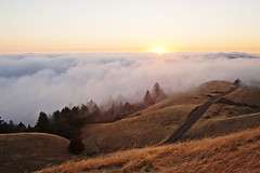 Mount Tamalpais (Liang Ge) Tags: california road county trees light sunset mountain mill colors beautiful fog canon landscape natural marin foggy hills mount valley headlands karl mttam tamalpais northern sausalito mounttam roadway millvalley the 35l